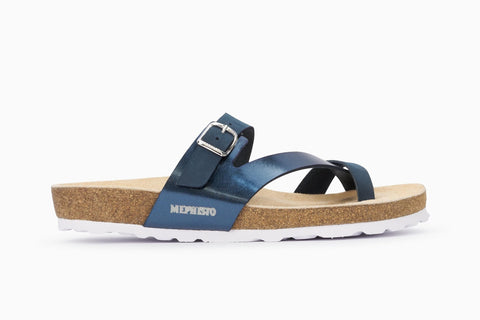 Mephisto Women's Nalia Thong Style Sandal Navy Side View
