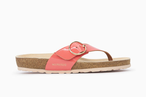 Mephisto Women's Natalina Thong Style Sandal Coral Patent Side View