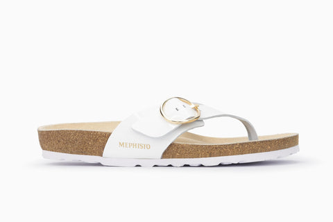 Mephisto Women's Natalina Thong Style Sandal Whit Patent Side View