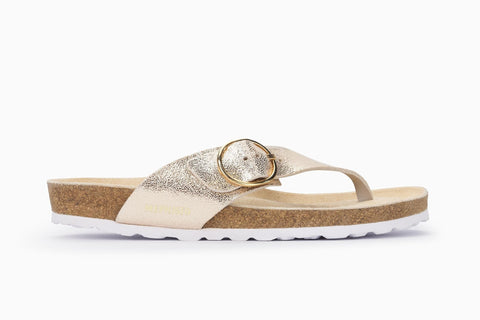 Mephisto Women's Natalina Thong Style Sandal Platinum Side View