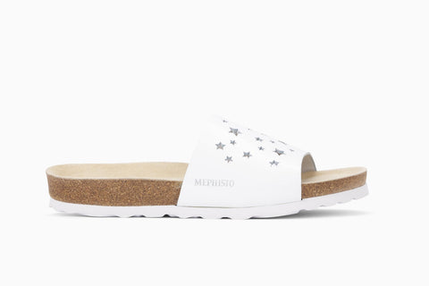Mephisto Women's Nora Star Slip On Sandal White Patent Side View