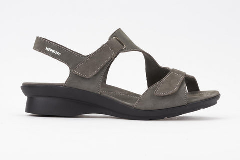 Mephisto Women's Paris Pewter Bucksoft 6925 back strap casual dress walking sandal with two Velcro upper straps side view