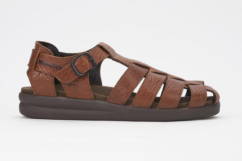 Mephisto Men's Sam Tan Grain 742 casual dress fisherman's sandal side view