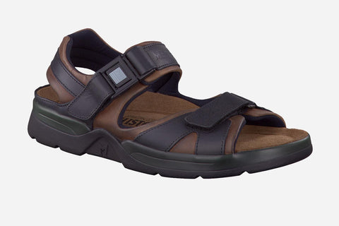 Mephisto Men's Shark Dark Brown / Black Waxy 5751/5700 back strap waking sandal with two Velcro upper straps and quick release buckle side view