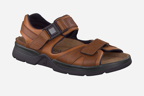 Mephisto Men's Shark Chestnut Waxy / Tan Grain 5778/4442 back strap waking sandal with two Velcro upper straps and quick release buckle side view