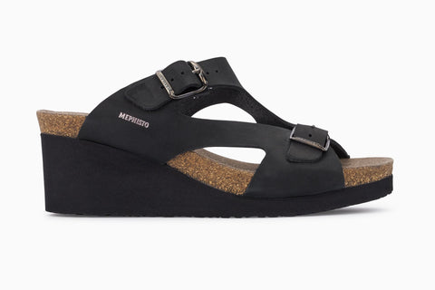 Mephisto Women's Terie Adjustable Wedge Sandal Black Nubuck Side View