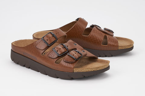Mephisto Men's Zach Tan Grain 4442 cork foot-bed three buckle slide sandal multi view