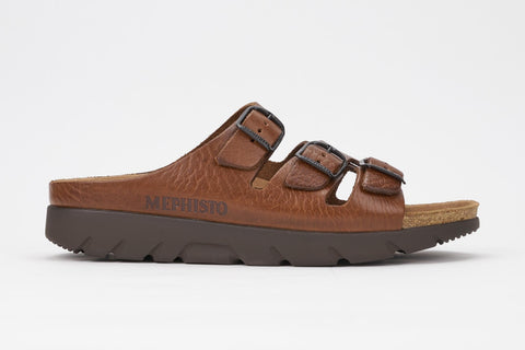 Mephisto Men's Zach Tan Grain 4442 cork foot-bed three buckle slide sandal side view