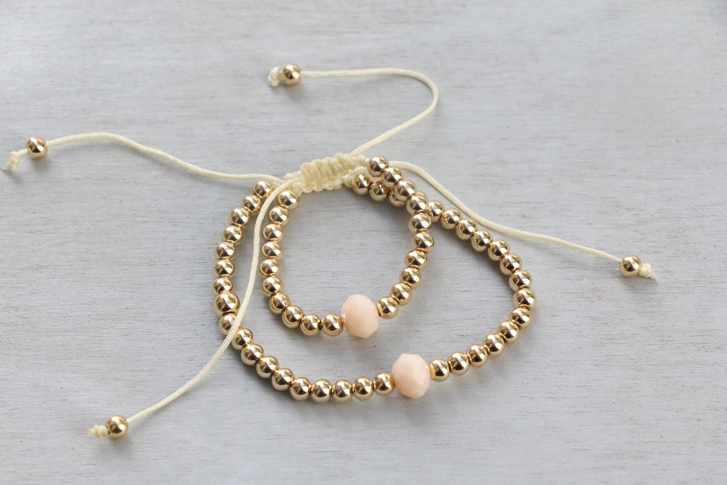 Gold Beaded Bracelet + Crystal Charm