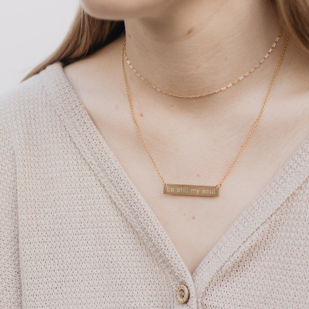 Engraved Bar Necklace, Classic Font
