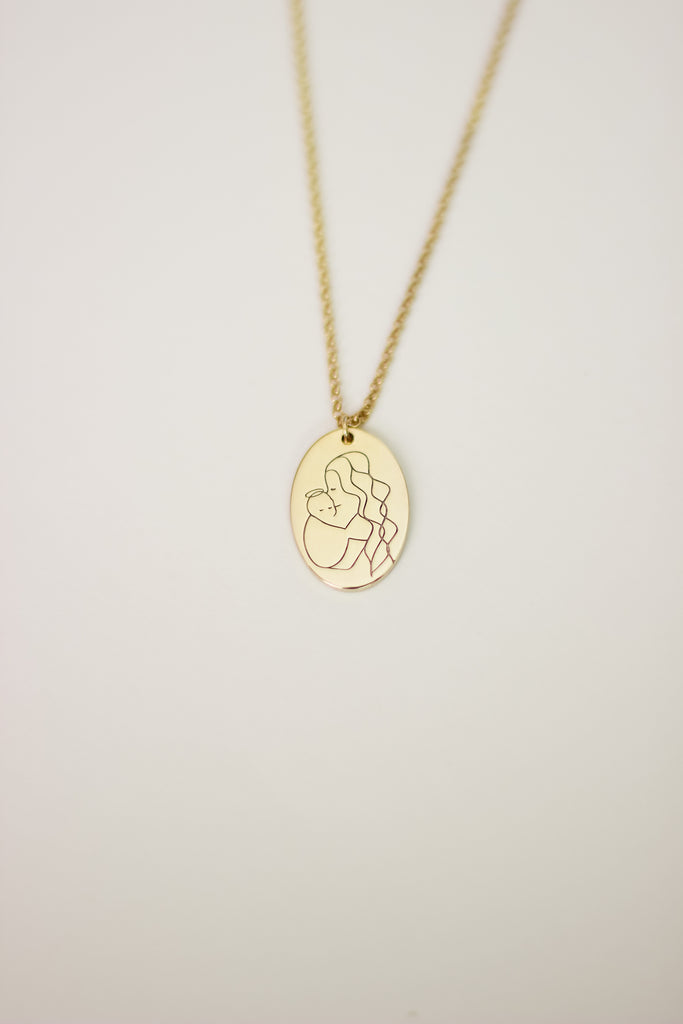 Angel Mama (long hair) Oval Necklace