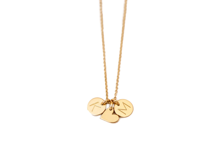Amia Hearts and Initial Discs Necklace