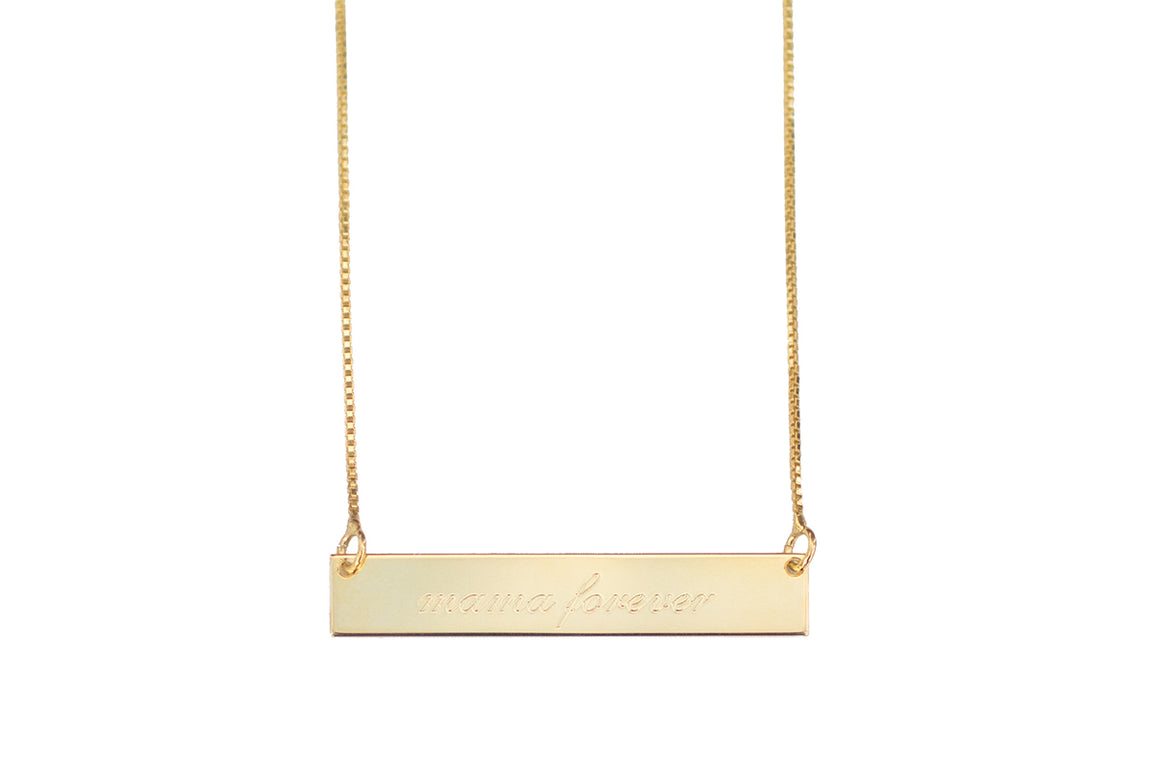 Engraved Bar Necklace, Script Font