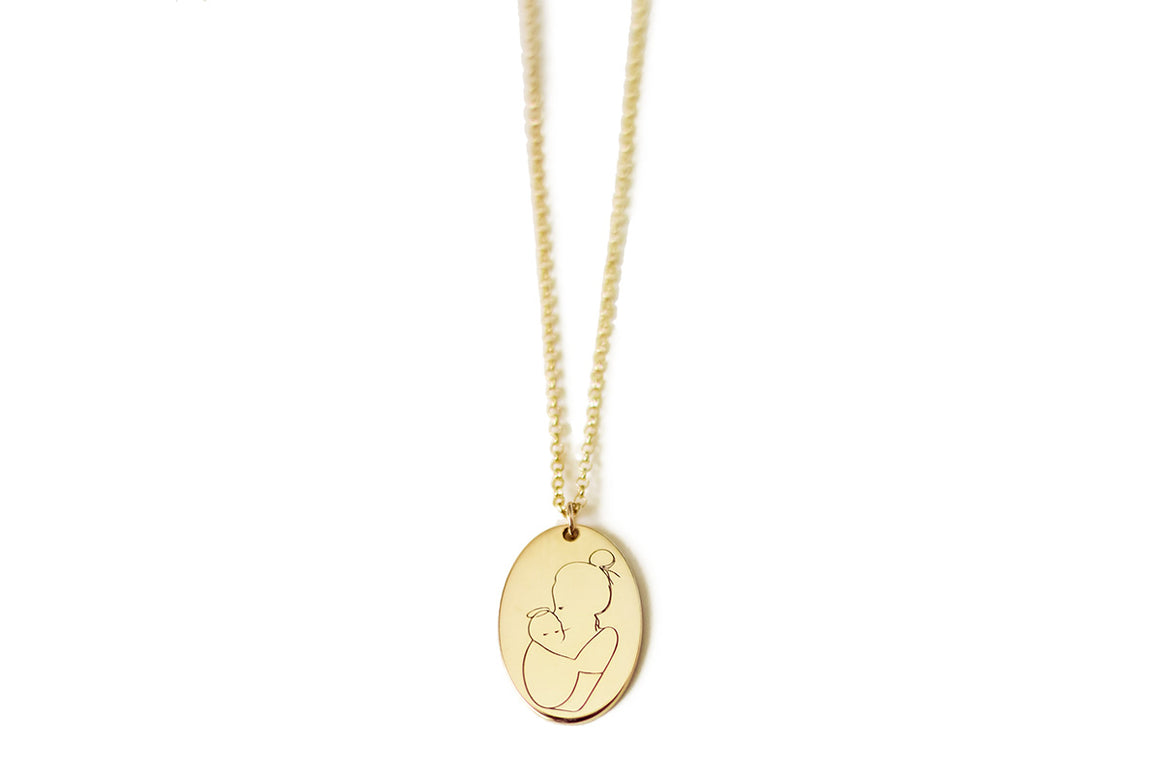 Angel Mama (bun) Oval Necklace