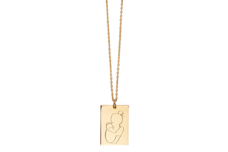 Angel Mama Necklace (bun) Rectangle