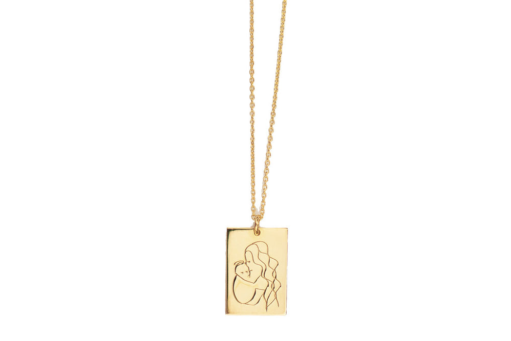 Load image into Gallery viewer, Angel Mama Necklace (long hair) Rectangle