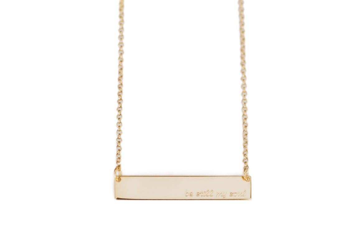 Engraved Bar Necklace, Callie Font