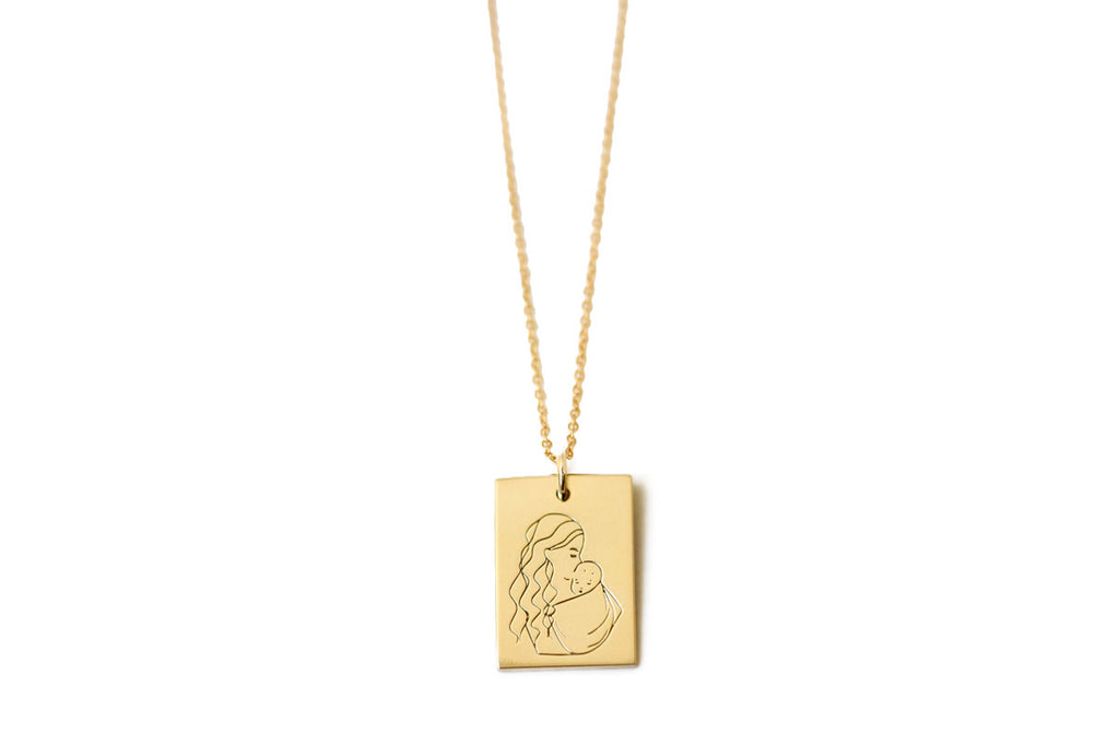 Mother Rectangle Necklace