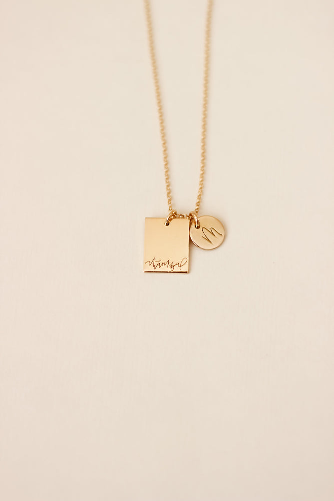 Load image into Gallery viewer, Thankful Rectangle Necklace