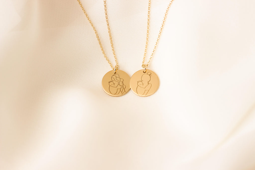 Angel Mama (bun) Disc Necklace