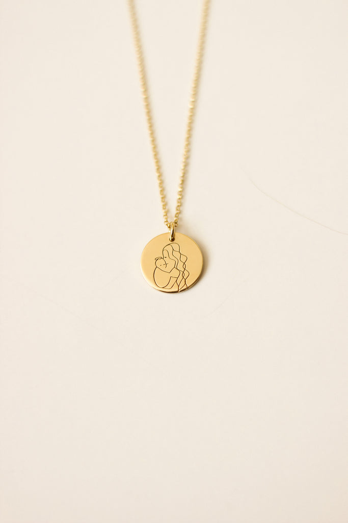 Angel Mama (long hair) Disc Necklace