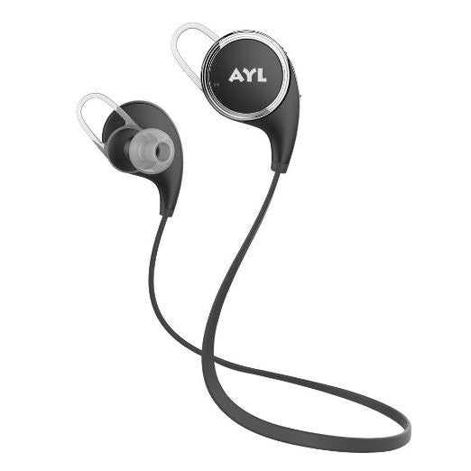 AYL Bluetooth Headphones, V4.1 Wireless Earbuds Stereo Earphones, Secure Sports Fit with Built-in Mic for Smartphones