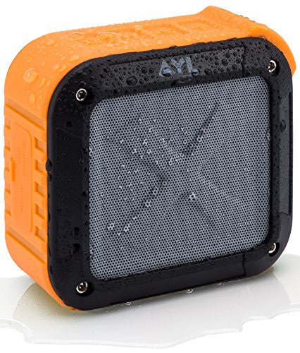 Portable Outdoor and Shower Bluetooth 4.1 Speaker by AYL SoundFit, Water Resistant, Wireless with 10 Hour Rechargeable Battery Life, Powerful Audio Driver, Pairs with All Bluetooth Devices (Orange)