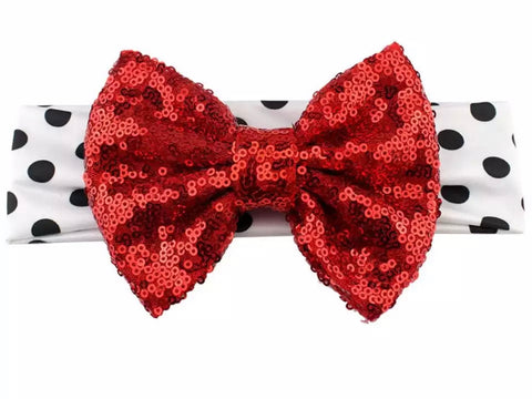 Red, white and Black Sequin Bow Headband