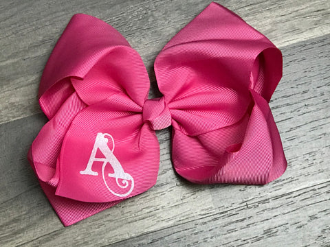Pink Custom Inital Hair Bow