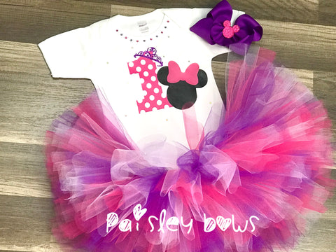 1st Birthday Minnie Princess Tutu Set - Paisley Bows