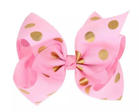 Pink And Gold Polka Dot Bow