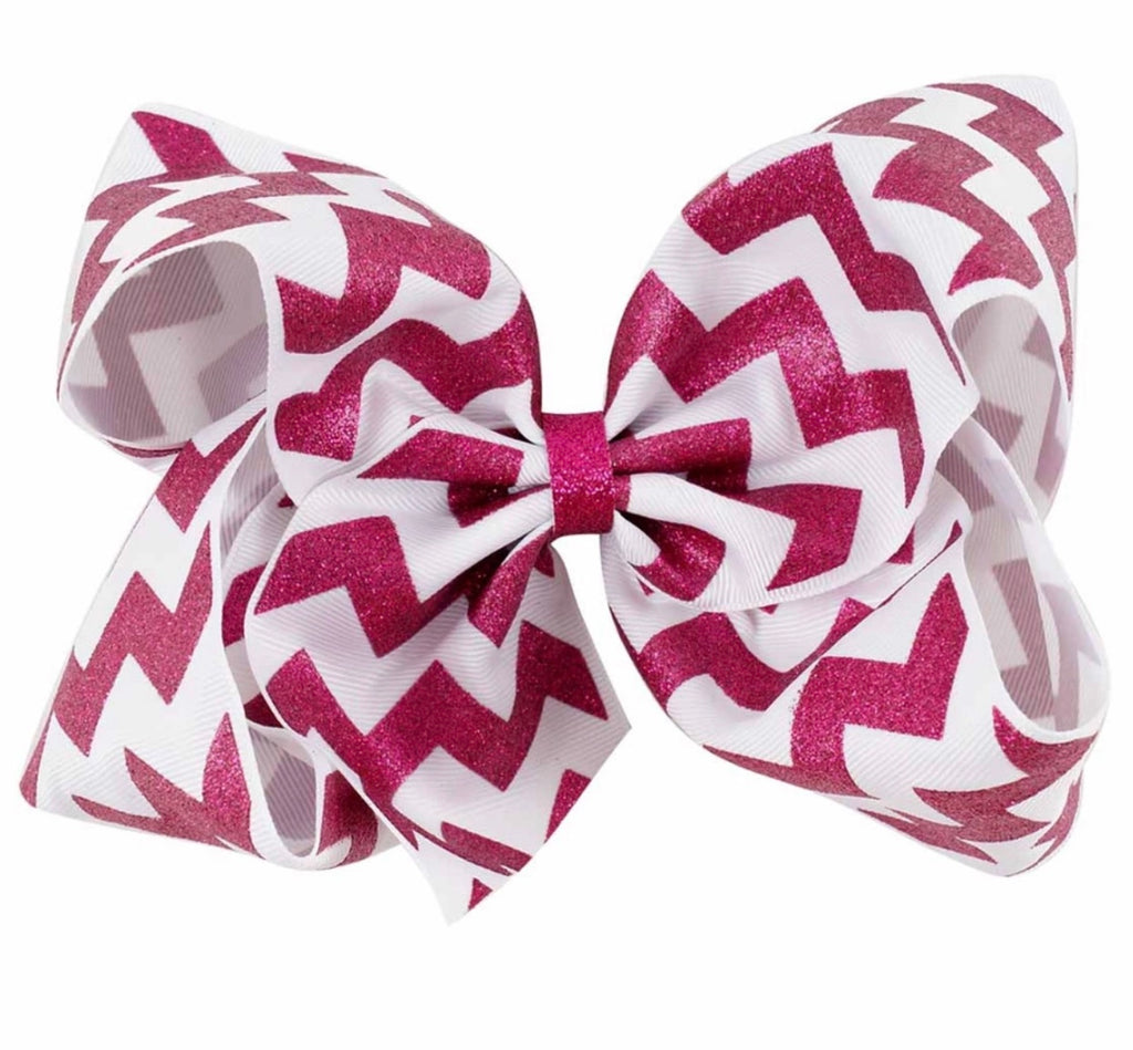 8 Inch Pink and White Chevron Hair Bow - Paisley Bows