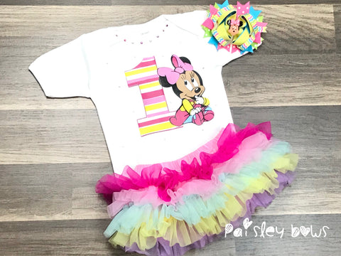 Baby Minnie 1st Birthday Outfit - Paisley Bows