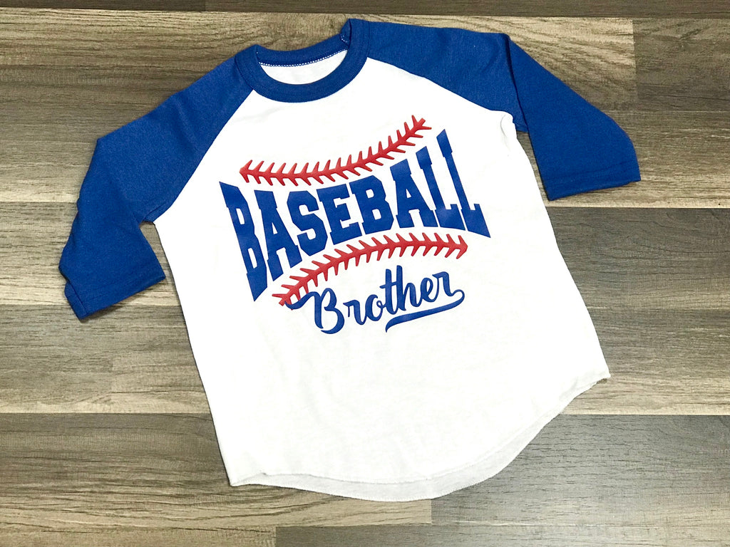 Baseball Brother Raglan Shirt - Paisley Bows