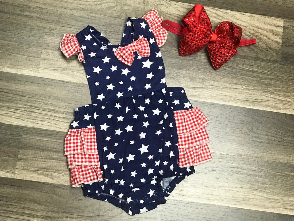 Fourth Of July Sunsuit and Headband - Paisley Bows