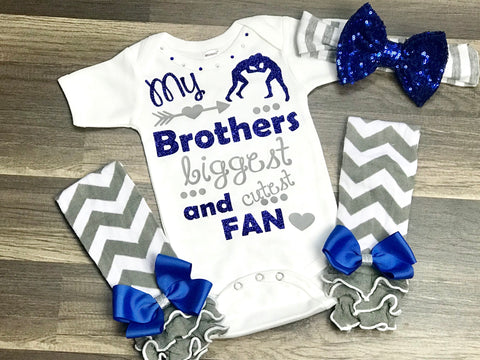 Blue And Gray Wrestling Sister 3pc set - Paisley Bows