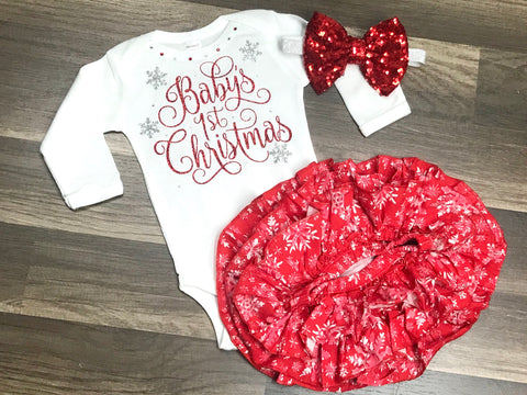 Baby's 1st Christmas - Paisley Bows
