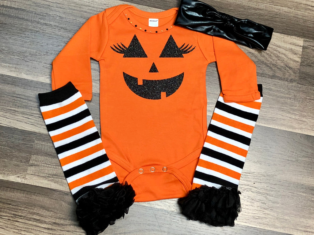 Halloween Pumpkin 3pc Outfit - Paisley Bows