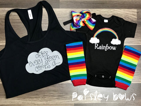 Rainbow Baby Outfit - Paisley Bows