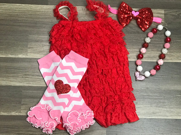 Valentine's Day Romper - Paisley Bows