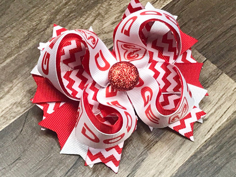 Red And White Dodge Hair Bow Or Headband