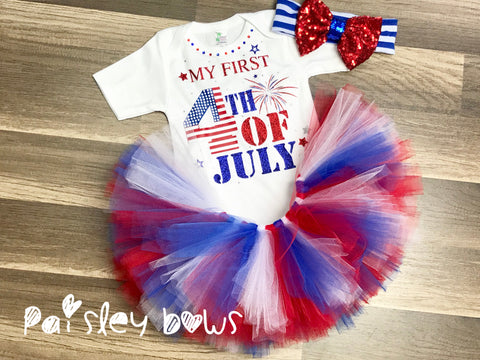 My First 4th Of July Tutu Set - Paisley Bows