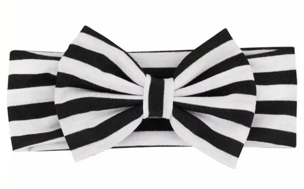 Black And White Stripe Big Bow Headband - Paisley Bows