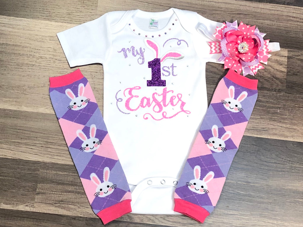 1st Easter Bodysuit Or Outfit - Paisley Bows
