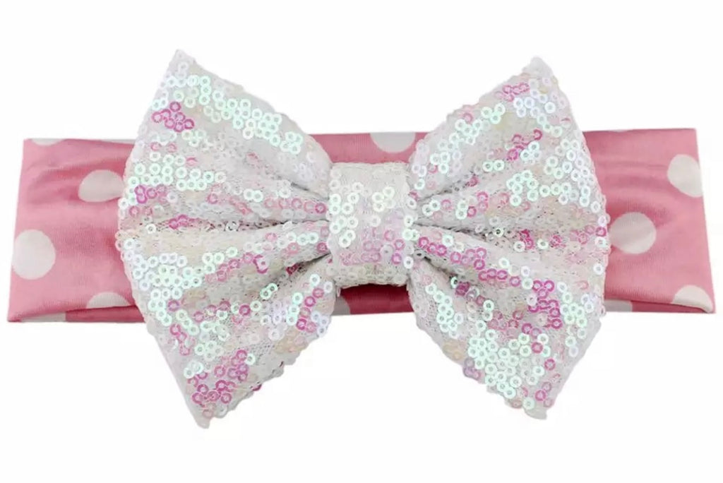 Pink And White Sequin Bow Headband - Paisley Bows