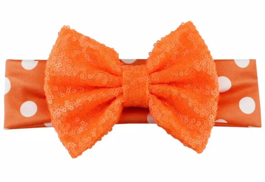 Orange And White Sequin Bow Headband - Paisley Bows