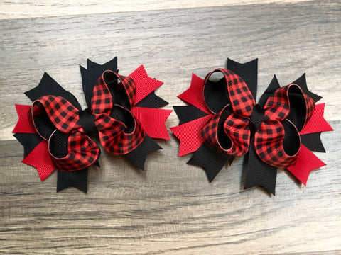 Buffalo Plaid Pigtail Bow Set - Paisley Bows