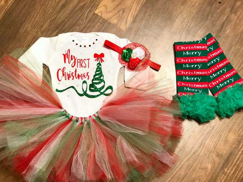 My First Christmas Tutu Outfit - Paisley Bows