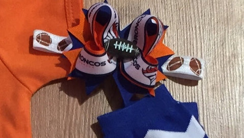 Broncos Hair Bow Or Headband - Paisley Bows