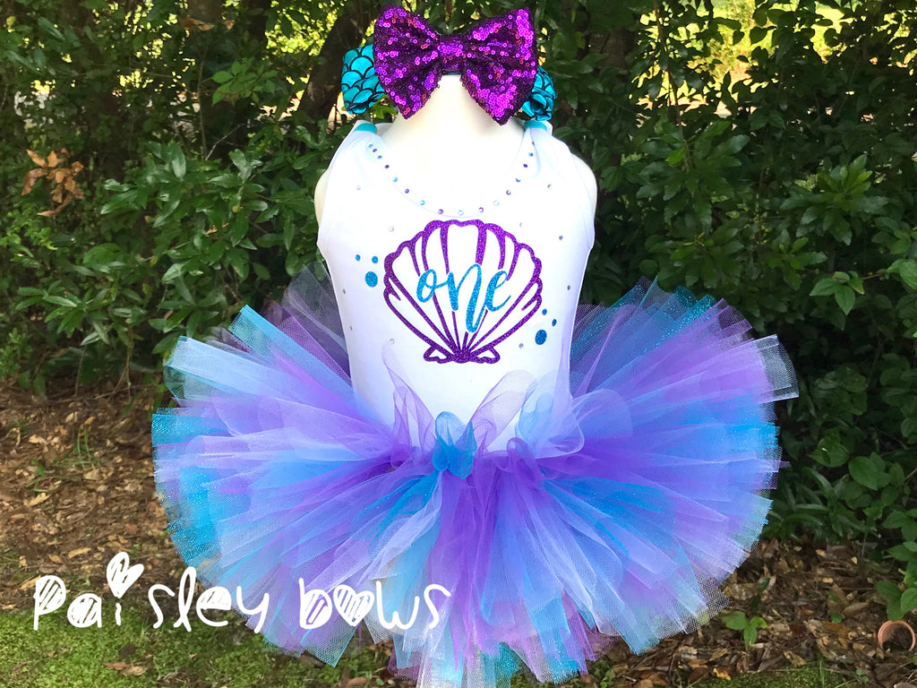 Mermaid First Birthday Tutu Set - Paisley Bows